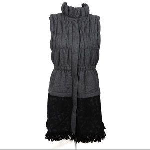 T773 Ryu Wool Blend Lace Fringe Long Vest Size S